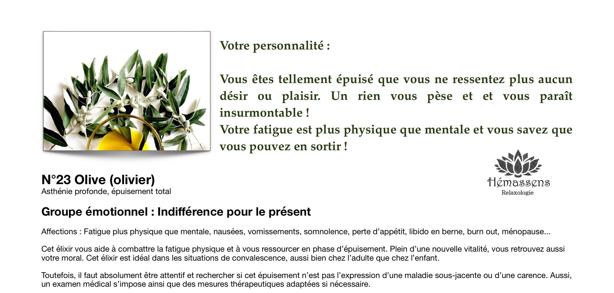 Olive Fleur de Bach Hémassens Fameck